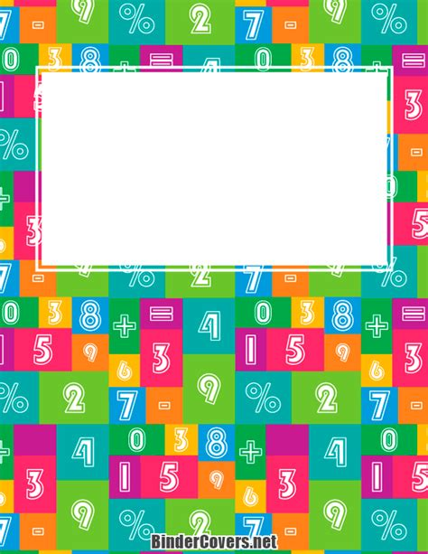 printable math binder covers printable math binder cover