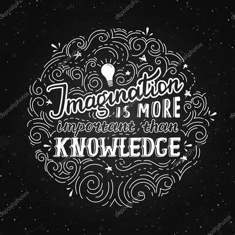 typography knowledge imagination is more important than knowledge einstein lettering quote vector