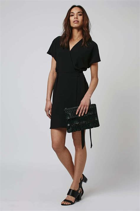 topshop mini wrap dress in black lyst