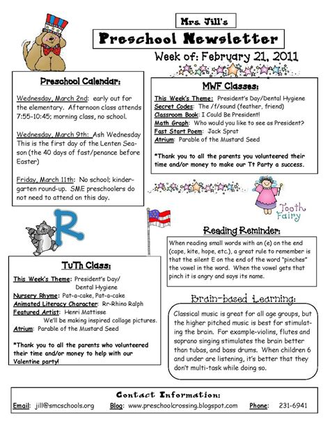 parent newsletter templates preschool newsletters class curriculum schedule december