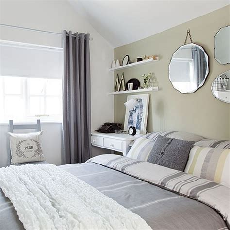 green feature wall bedroom neutral bedroom with pale green feature wall country