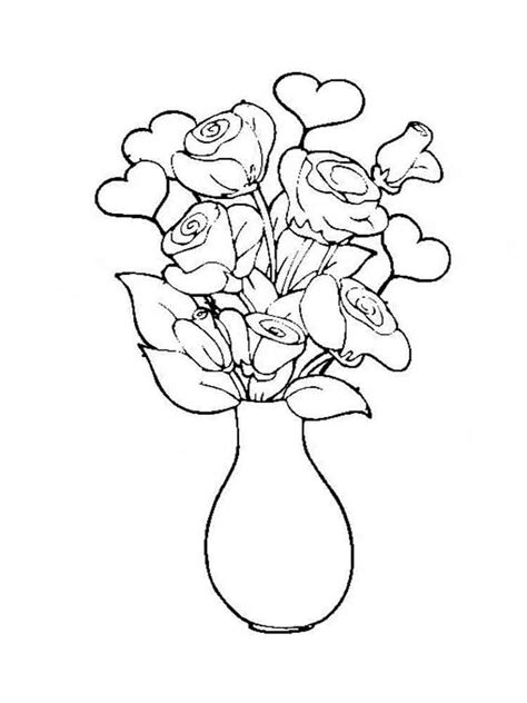 Flower Vase Pictures To Color by Flowers In A Vase Coloring Pages And Print