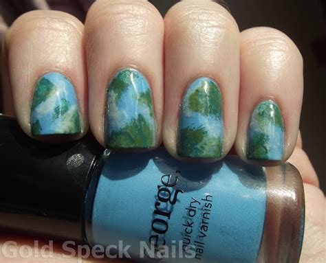 Scc Bordir Mieke Top Navy Grey Soft Blue gold speck nails challenge day 12 earth day nails
