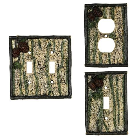pine cone switch plate covers cabin place
