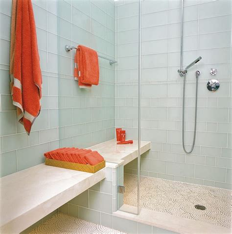 aqua glass tile bathrooms shower in front of window bathroom traditional with tiled