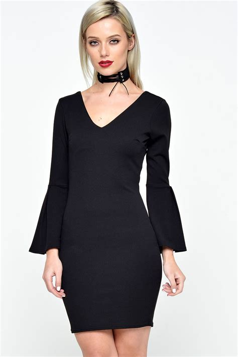premier de toi zara bell sleeve bodycon dress in black