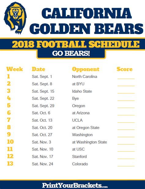 Office Football Pools California California Golden Bears 2018 Football Schedule Printable