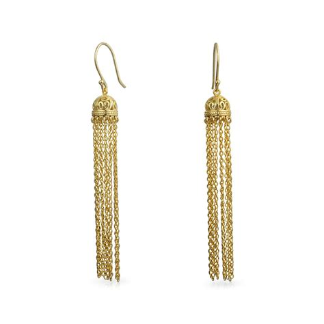 gold plated silver filigree dome dangle chain earrings