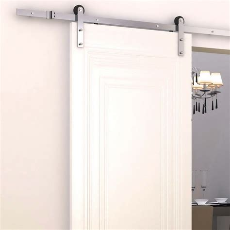 Sliding Barn Door Kits Homcom Sliding Barn Door Kit Rolled Track For Wooden Door Gear Silver Aosom Co Uk