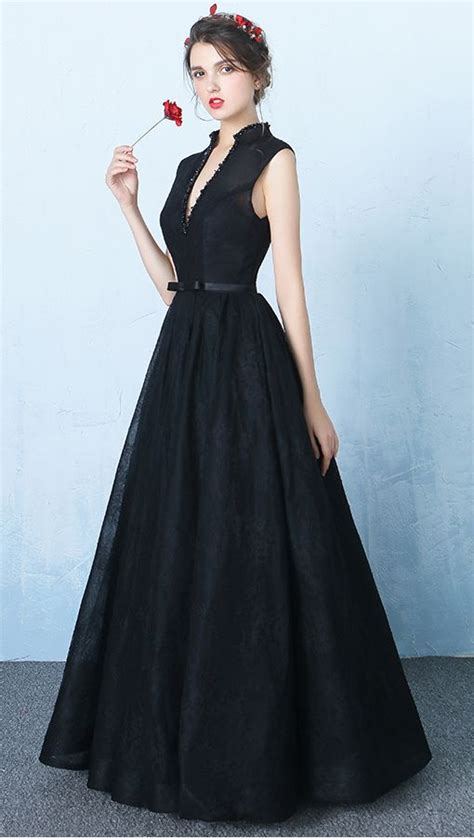 design black lace  neck prom dressesstandup neck