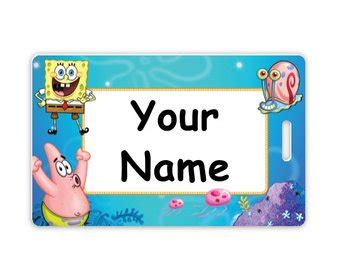 spongebob id card template spongebob tag etsy
