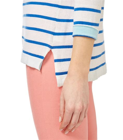 boat neck breton jumper woolovers womens silk and cotton breton stripe boat neck