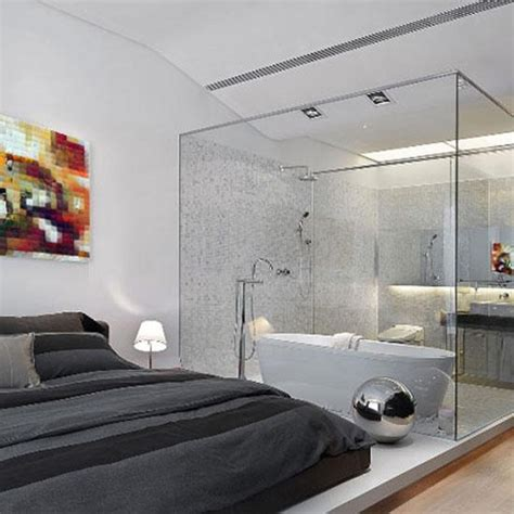 bedroom with glass walls glass partition wall design ideas and room dividers