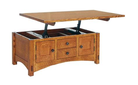 Lift Top Coffee Table Plans Amish Lucern Mission Cabinet Lift Top Coffee Table