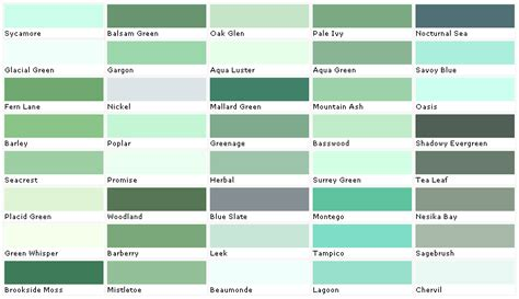 shades of green color chart pratt and lambert colors house paint color chart chip
