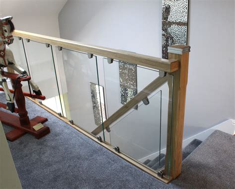 glass landing banister glass on bracket staircases the stair glass company