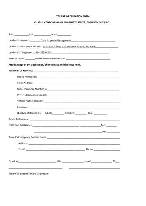 tenant information form tenant information form printable pdf