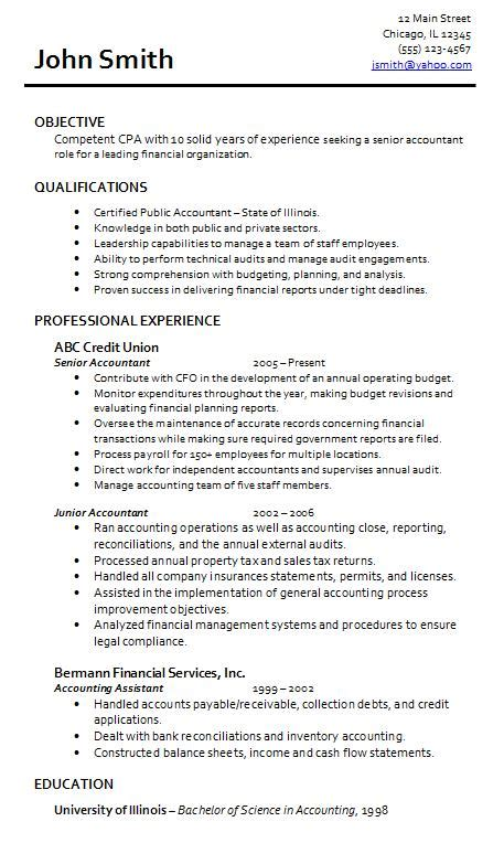 resume exle junior accountant exle of accounting resume with of illinois