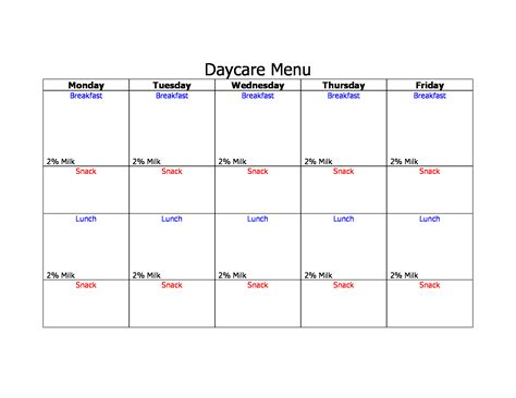 blank daycare menu template 29 menu forms pdf doc