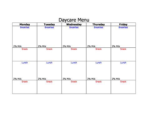29 Menu Forms Pdf Doc Daycare Menu Template