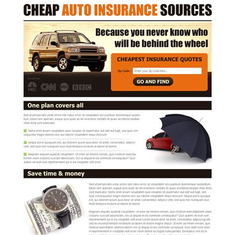 Auto insurance landing page design to capture leads and
