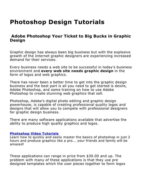 tutorial photoshop slideshare photoshop design tutorials adobe photoshop your ticket