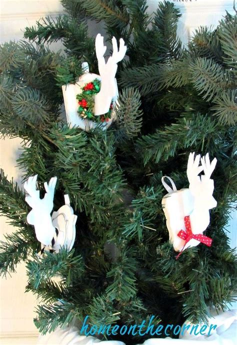 christmas decorations with deer head pic faux deer ornament hometalk