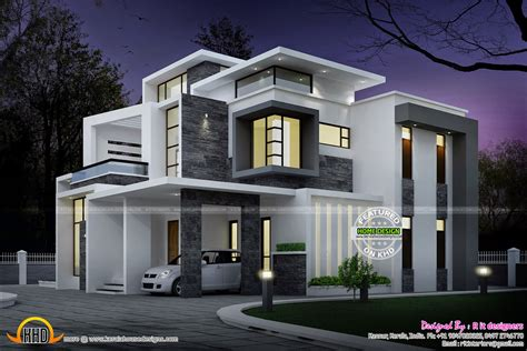 side elevation view grand contemporary home design