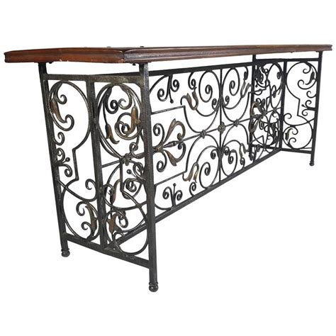rod iron sofa table french wrought iron and brass bronze console table for