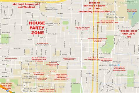 texas tech location map a judgmental map of denton tx