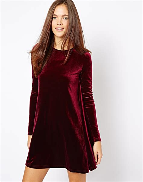 velvet swing glamorous velvet swing dress in purple lyst