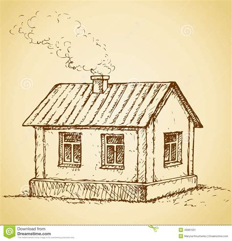 Small House Cabin Plans cozy little house vector sketch stock vector image