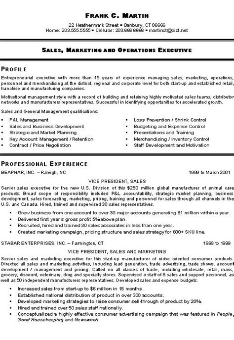 marketing sales executive resume exle exles best