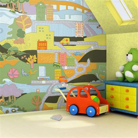 Childrens Bedroom Wall Decor Baby Nursery Wallpaper Ideas Mervin Diecast