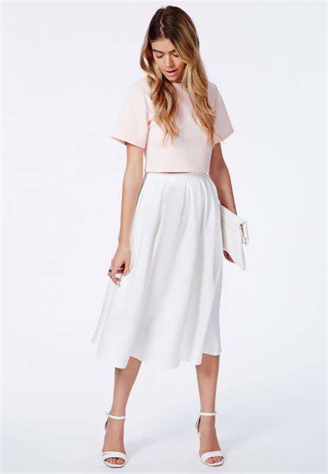 missguided auberta white pleated midi skirt in scuba in