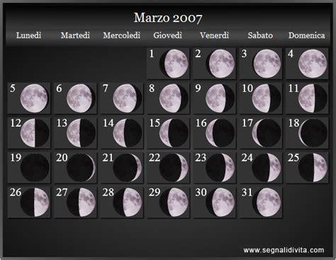 Calendario Marzo 2007 Calendario Lunare 2007 Fasi Lunari