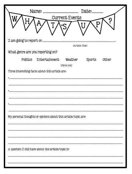 Current Events Homework Sheet by Pinkadots Elementary Freebie Current Events