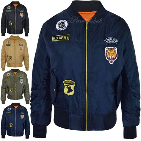 Bomber Us Army X new womens retro bomber jacket scooter us army badges vintage coat size ebay