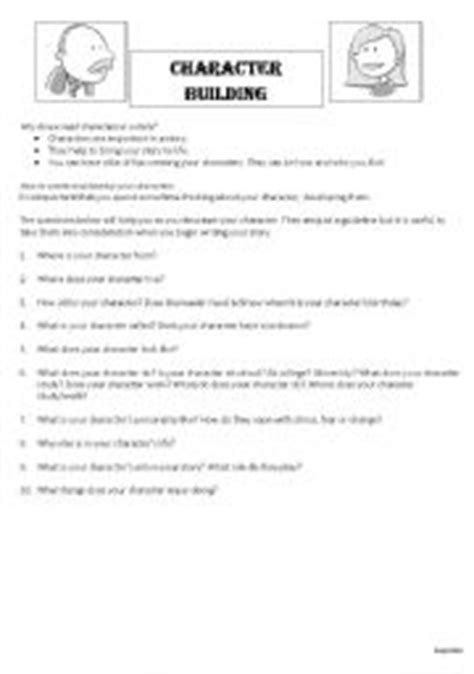 Character Building Worksheets For Writers by Worksheets Character Building Part 1