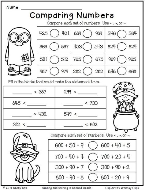 printable comparing numbers games halloween math for second grade comparing numbers free