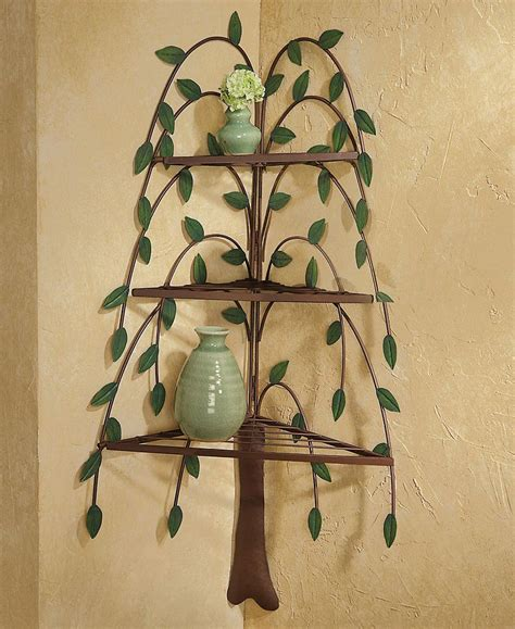 home decor metal weeping willow tree 3 tier corner wall
