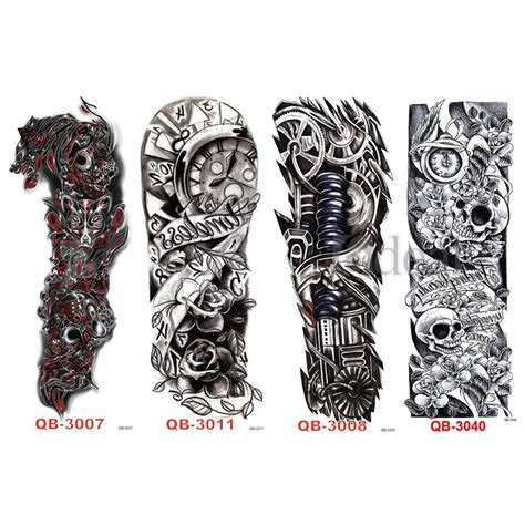 full arm sleeve temporary tattoo skull and clock tribal