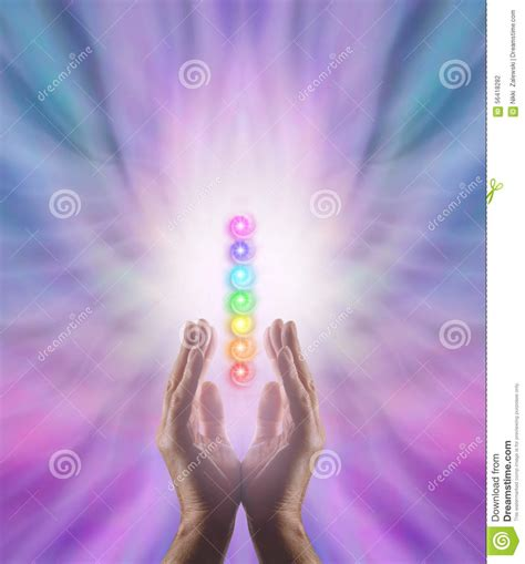 sending chakra healing energy stock photo image