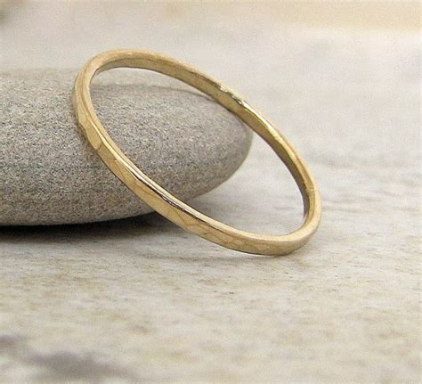 thin wedding band gold wedding ring 14k hammered gold wedding