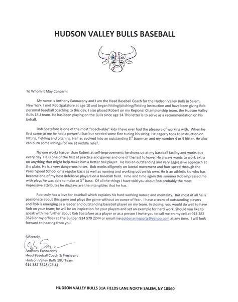 College Baseball Letter Of Recommendation Berecruited