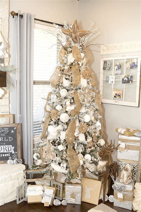 farmhouse christmas decor with a neutral christmas tree