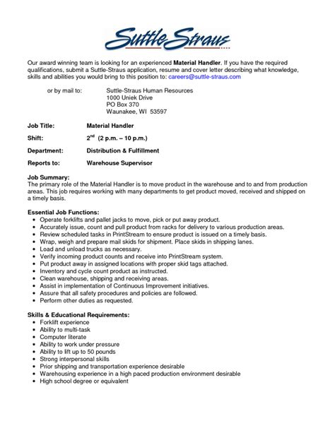 cover letter exle for warehouse position material handler resume skills warehouse material handler