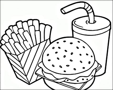 Coloring Page Food by Get This Food Coloring Pages Hamburger And Fries