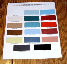 1955 chevy paint chip chart all original colors ebay