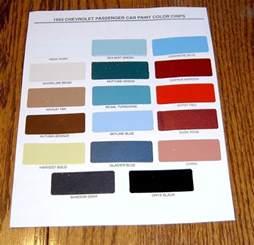 Original Colour 1955 Chevy Paint Chip Chart All Original Colors Ebay